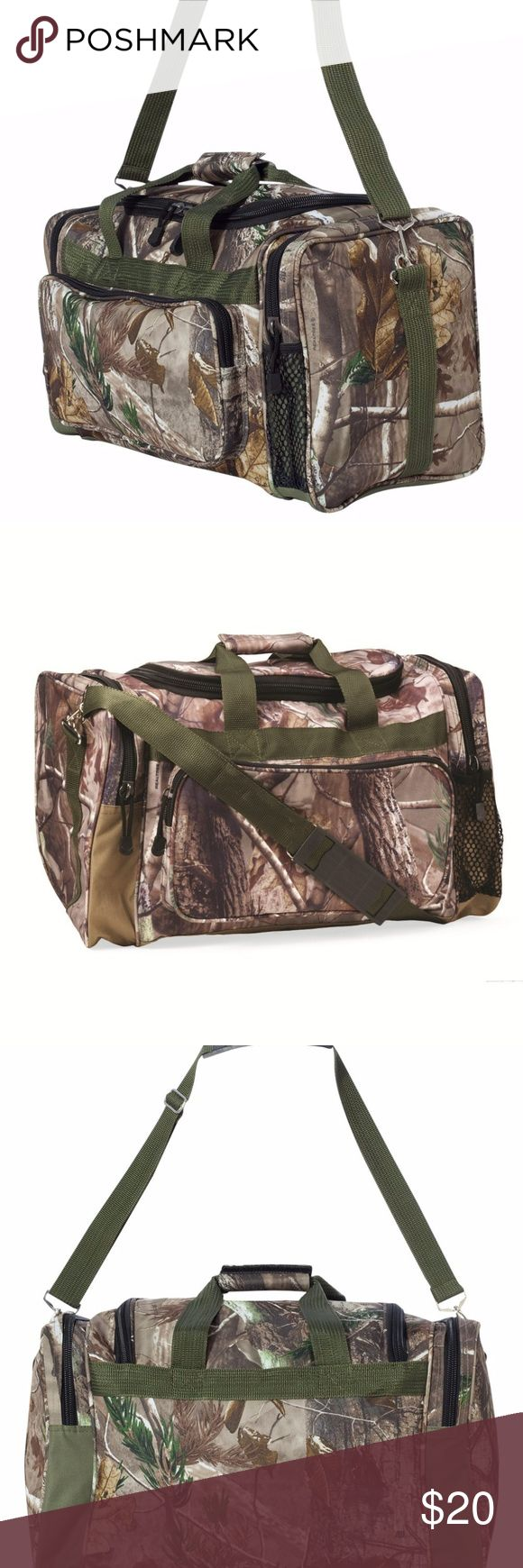 """NWT Real Tree Camo Camouflage Duffel Bag by Kati You are looking at a brand new Real Tree Camo Camouflage Duffel Bag by Kati. 600D polyester with PVC backing Adjustable removable shoulder strap Zippered main compartment Two end zippered pockets Front zippered pocket Size: 22"""" x 11"""" x 10"""" Real Tree Bags Duffel Bags"""