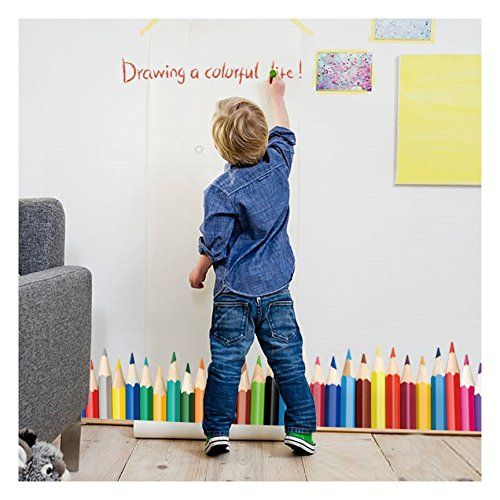 Wall Decals For Kids - Colorful Crayons Vinyl Wall Stickers - Removable wall Murals, Large Stick and Peel Art by Dooboe