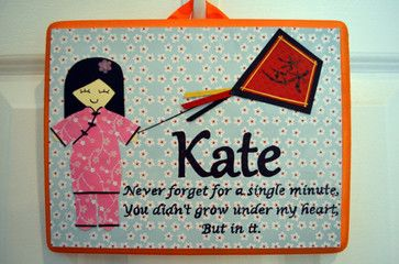 Personalized Adoption Theme Wall Plaque by My Sakura Princess - asian - kids decor - Etsy