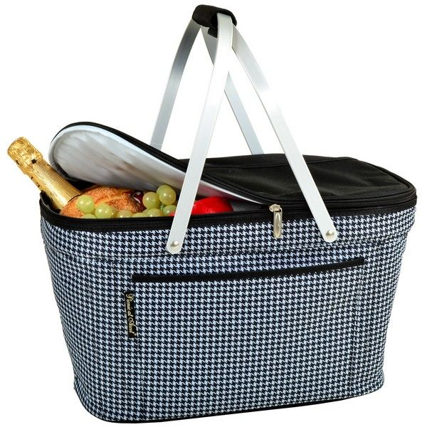 Picnic At Ascot Collapsible Insulated Picnic Basket : Houndstooth collapsible insulated basket picnic at ascot