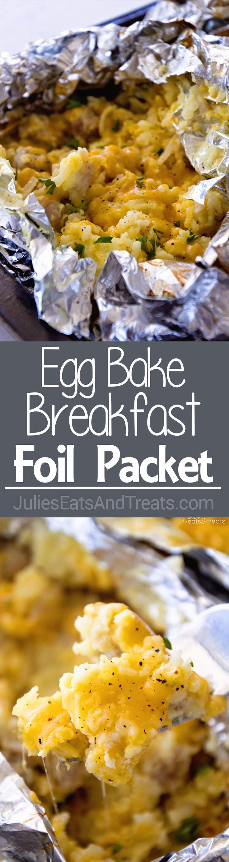 Egg Bake Breakfast Foil Packet ~ Love Breakfast Casseroles As Much As I Do? Now You Can Make Them Over The Campfire or on the Grill! Enjoy Your Favorite Breakfast on the Grill or Campfire! ~ http://www.julieseatsandtreats.com