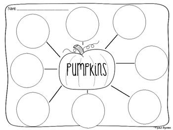 Pumpkin Bubble Map. After learning about pumpkins, together the class can complete this bubble map to generate ideas to complete an independent writing assignment. CCSS.ELA-Literacy.W.1.8 With guidance and support from adults, recall information from experiences or gather information from provided sources to answer a question.