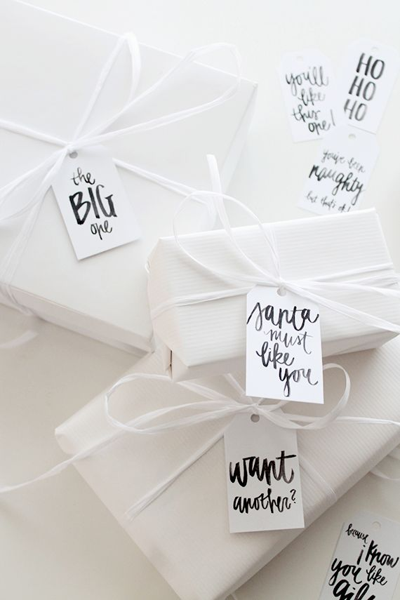 it's almost time to open that stack of boxes full of gifts in your living room and start wrapping! i always love a fun gift tag to spice up a present - so i made 10 different printable tags for you...:
