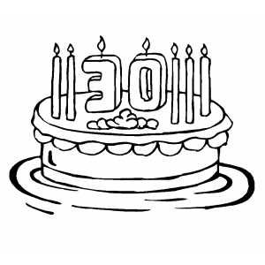 30th Birthday Cake With 7 Candles Coloring Page Numbers
