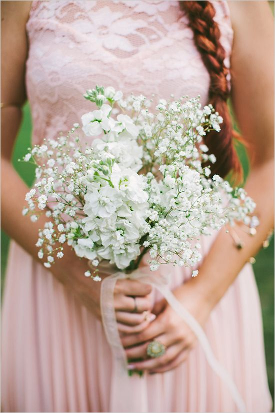 pink bridesmaid dress +handmade baby's breath and white stock bridesmaid bouquet #pinkwedding