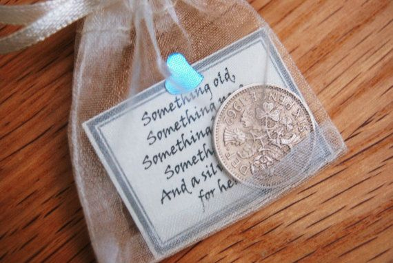 Sixpence bridal gift something blue by reasons2bcheerful on Etsy, £3.50