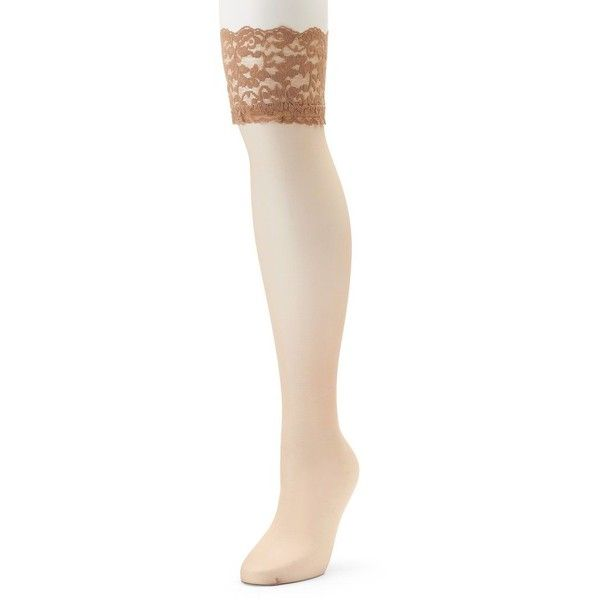 Berkshire Sheer Silky Lace-Top Thigh High Panty Hose ($5.40) ❤ liked on Polyvore featuring intimates, hosiery, tights, lt beige, plus size, thigh high tights, lace tights, plus size thigh high stockings, thigh high compression stockings and compression tights