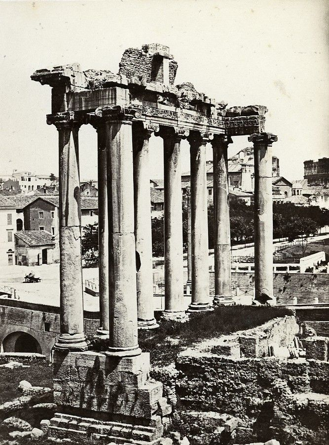 Italy Roma Temple of Concord & Column of Phocas Old Photo Bisson 1858