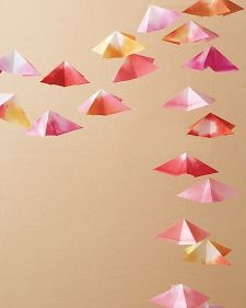 Origami Garland DIY- great for bar decor or ceremony marker
