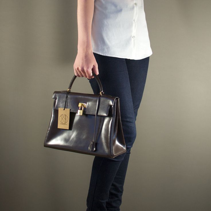 Herm¨¨s Brown Courchevel Gold Kelly 28 Bag | Authentic Vintage ...