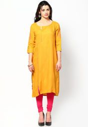 Make the girls go green when you wear this yellow coloured kurta by W. Designed with absolute perfection, this rayon kurta is soft against the skin and will keep you at ease. Team it with a salwar or churidar in lighter or brighter hues to create a contrasting effect.