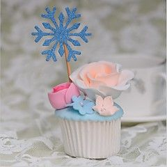 Décorations de Gâteaux Non personnalisée Cœur Papier durci Mariage / Commémoration / Anniversaire Fleurs Argent / BleuThème de plage /