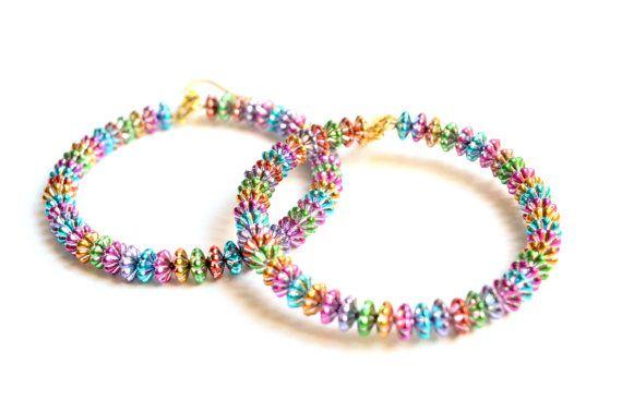 Rainbow Earrings . Saucer Bead Hoop Earrings . by LEMemories #rainbowhoops #earrings #dangleearrings