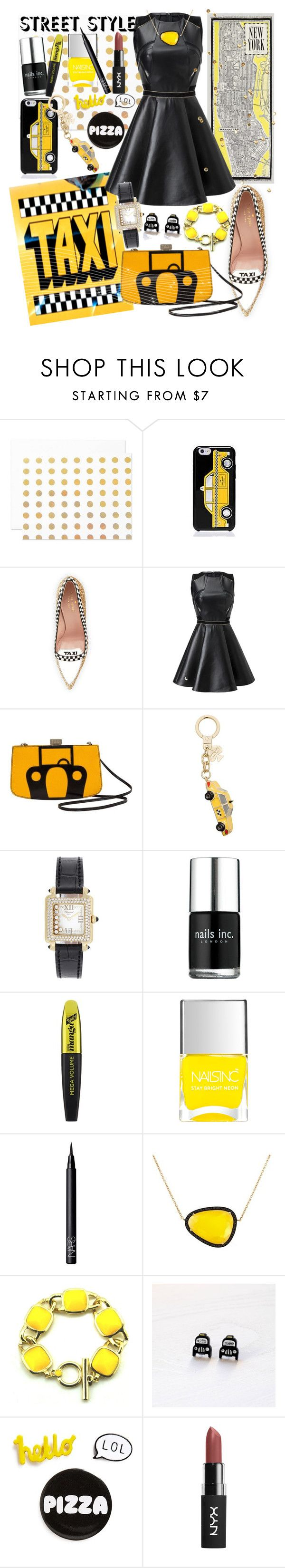"""Pizza, Taxis, Fashion Week"" by nikkimmorrison ❤ liked on Polyvore featuring TAXI, The Pink Orange, Kate Spade, Hermès, Chopard, Nails Inc., L'Oréal Paris, NARS Cosmetics, Christina Debs and Finest Imaginary"