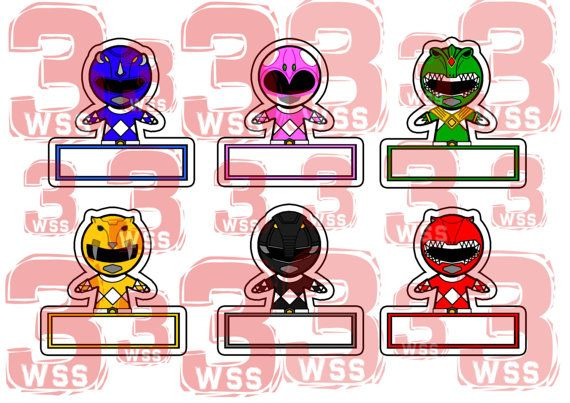 Name Tags Power Rangers Zord Templates as toppers or stickers