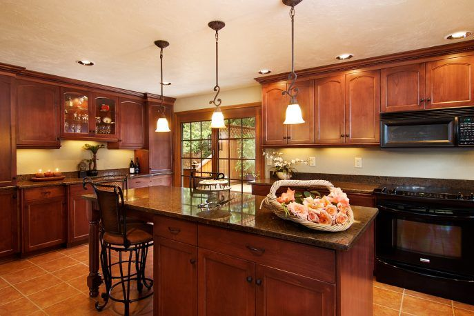 Kitchen:Beautiful Kitchen Design Idea Contemporary Home Kitchen Design Ideas With Marble Flooring Tile Also Pendant Lamp Also Recesed Lignting In White Ceiling Also Granite Countertop Also Panel Appliances Also Drawers And Lockers