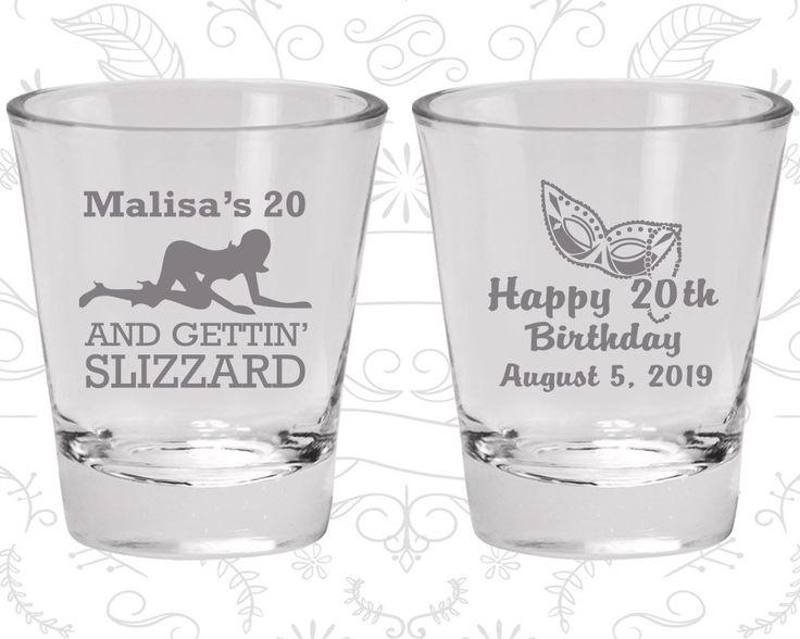 20th Birthday Shot Glasses, Promotional Birthday Shot Glass, Mardi Gras Birthday, Happy Birthday, Stripper, Birthday Shot Glasses (20084)