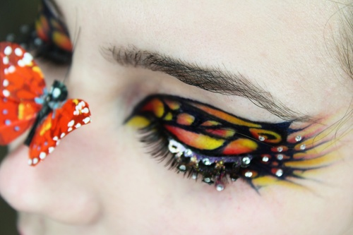 Monarch butterfly inspired eye make-up