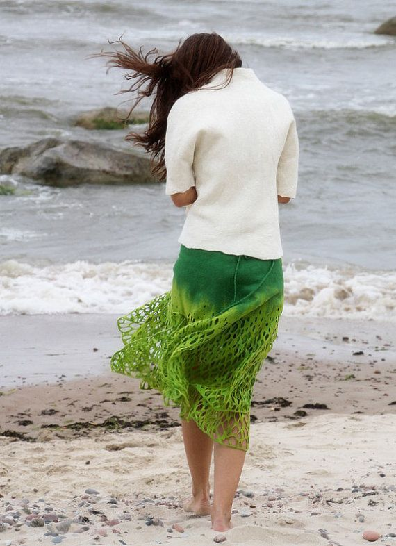 Felted skirt Green apple by doseth on Etsy