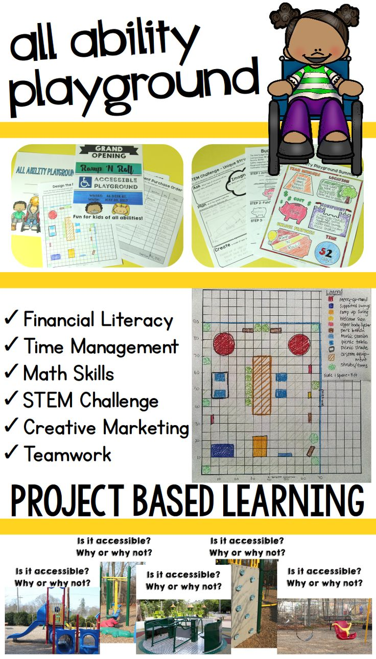 Project Based Learning activity - All Ability / Inclusive Playground. Plan the schedule and layout, create fundraising ads to raise funds, and design a unique structure for kids with physical, sensory, or other disabilities with the included STEM challenge! Great real-life application of time management, financial literacy, area and perimeter, and more! | Meredith Anderson