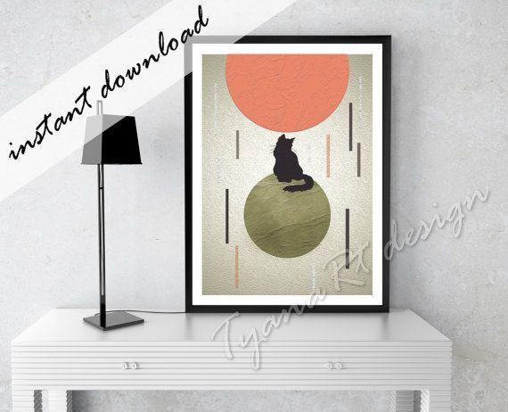 Geometric Modern Art Wall Art Print Geometric Print Cat by TyanaRt