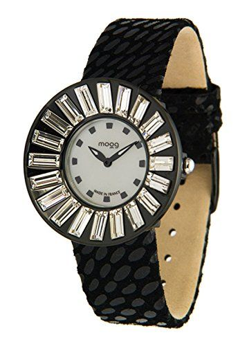 Moog Paris-Sunshine Damen-Armbanduhr Zifferblatt silber Armband schwarz Leder Rindleder, hergestellt in Frankreich-m45342-010 - http://uhr.haus/moog-paris/moog-paris-sunshine-damen-armbanduhr-silber-in