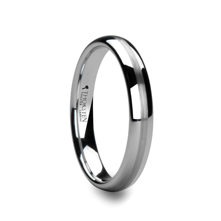 Stunning HELEN mm mm Domed White Tungsten Commitment Band with Brushed Center Stripe Tungsten Wedding BandsWedding