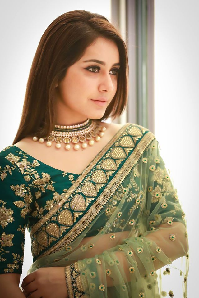 Rashi Khanna Spicy Photos In Green Saree