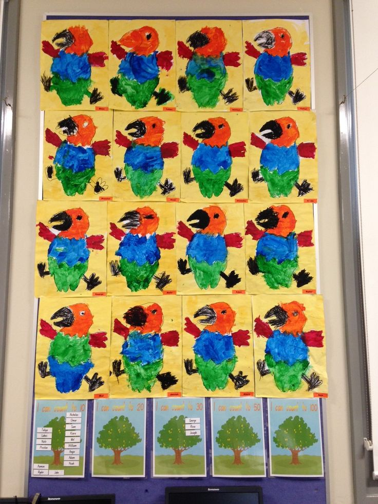 How the Birds Got Their Colours artworks by kindergarten.
