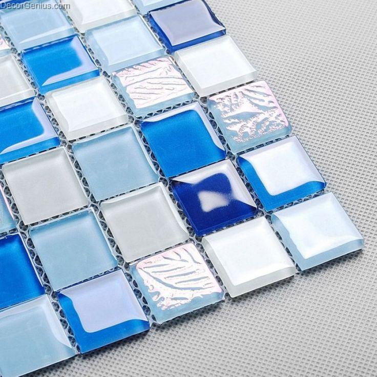 Navy TV Background Wall Mosaic Tile Home Front Desk Wall Decor Countertop Glass Mosaic Tiles Wallpanel