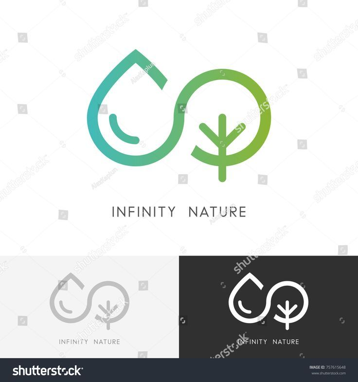 Infinity Nature Logo A Drop Of Water And Tree Or Plant Symbol