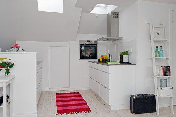 Small Attic apartment - white kitchen design