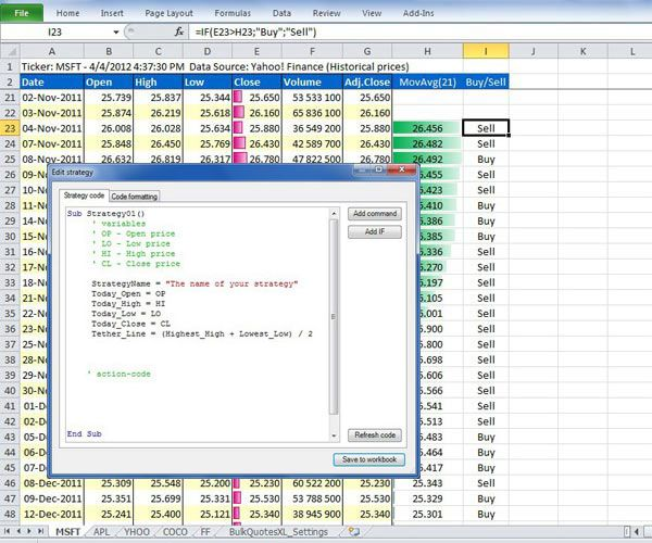 Trading strategies excel