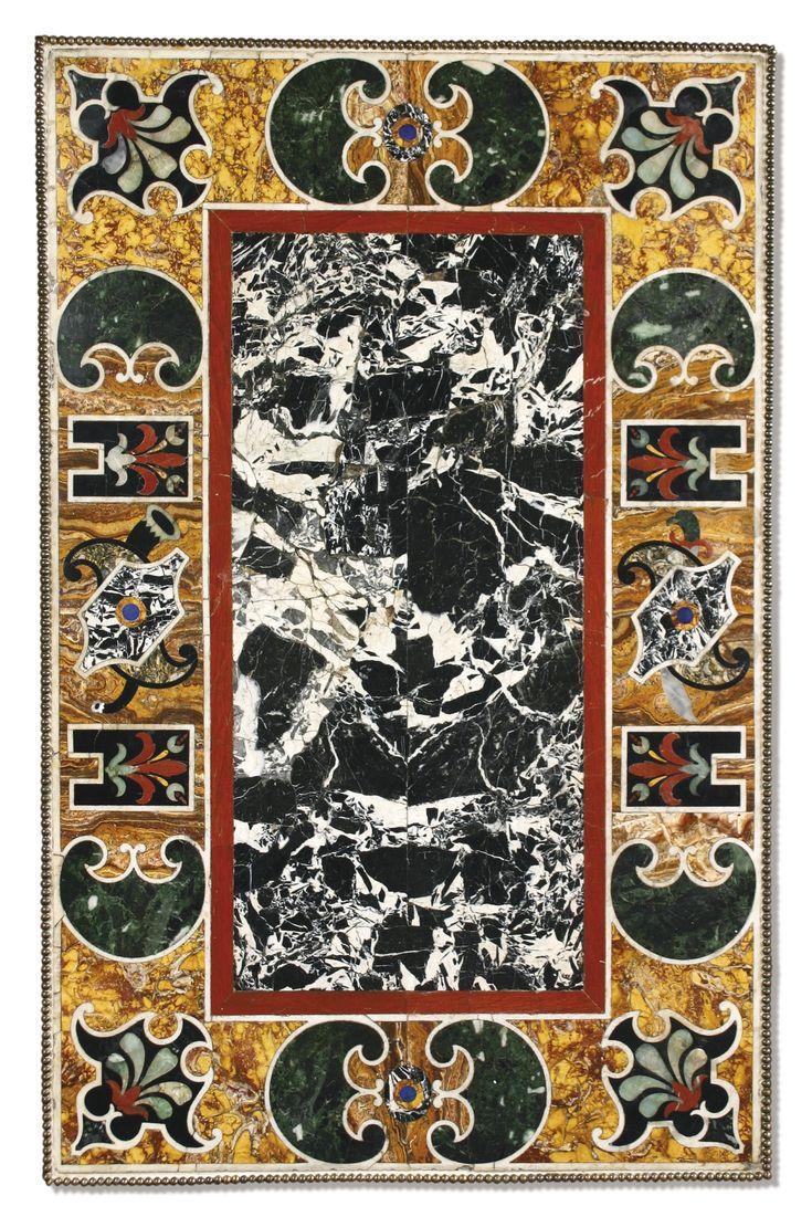 ITALIAN PIETRE DURE PANEL ROME, SECOND HALF 16TH CENTURY length 47 in.; width 30 in. 119.5 cm; 76 cm