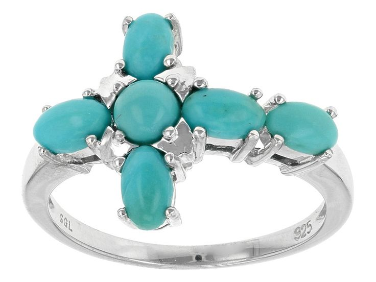 Cabochon Oval And Round Sleeping Beauty Turquoise Sterling Silver Cross Ring