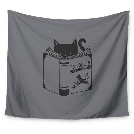 "Gray Cat Tobe Fonseca To Kill A Mockingbird Wall Tapestry (51""x60"") - Kess InHouse : Target"