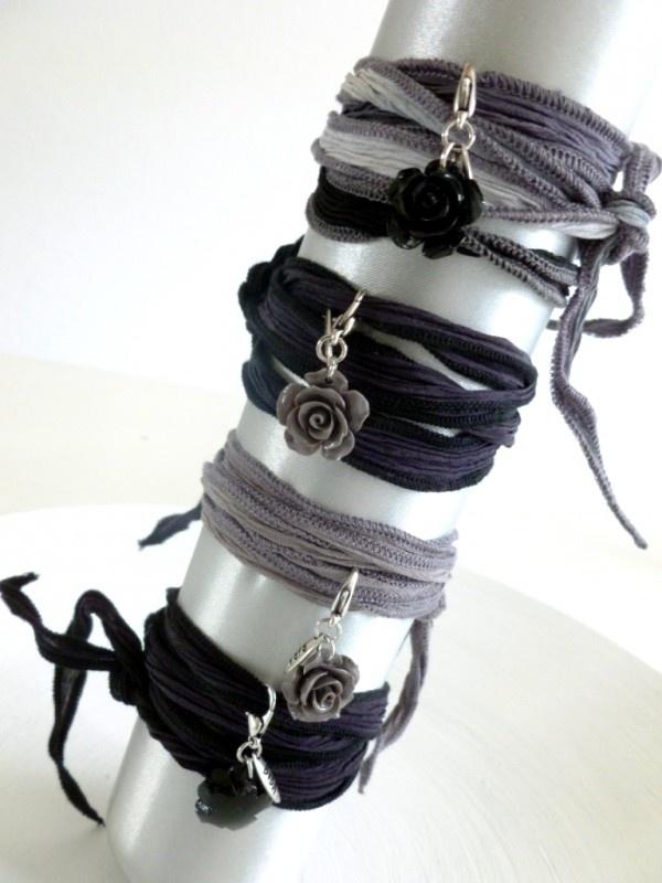 Armband zijde met roosje natuurtinten | BIBA SIERADEN | VILLA VICA
