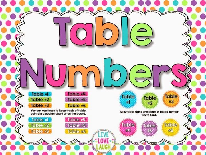 FREE table numbers