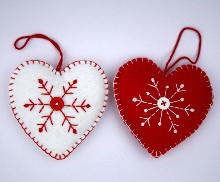 Felt Christmas Ornament, Scandinavian Heart, Embroidered Snowflakes.