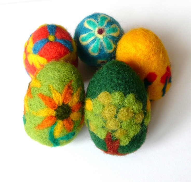 EASTER SPECIAL - 5 felted Easter eggs. $37.00, via Etsy.