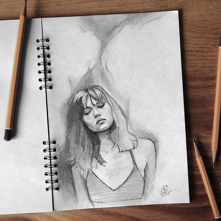 """Páči sa mi to: 1,996, komentáre: 13 – Miroslav Zgabaj (@miro_z_art) na Instagrame: """"Sketchbook Photo reference - @marianadantecnyc by @natalia_parsonson  #face #portrait #sketch…"""""""