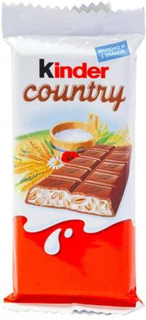 Kinder Chocolate Country молочный 23,5 г  — 34р. --------------- Шоколад молочный Kinder Chocolate Country 23,5 г. Это сочетание неповторимого вкуса великолепного молочного шоколада и нежной молочной начинки с добавлением пяти воздушных злаков (ячмень, рис, пшеница, пшеница спельта, гречиха). Особенности:  Полное содержание молочных ингредиентов - 30,5%.   Условия хранения: хранить при температуре от 15°C до 21°C и относительной влажности воздуха не более 70%. Полный состав продукта…