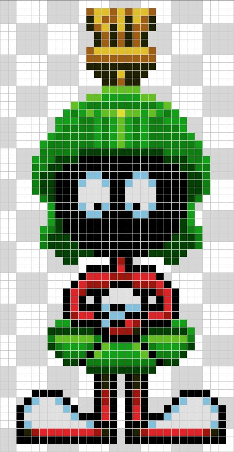 Marvin the martian - Hama beads pattern