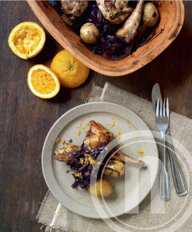 Kanin el. kylling med rødkål, appelsin og sirup