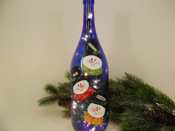 Painted Bottles With Lights Inside | Snowman Lighted Wine Bottle Cobalt Blue Recycled Hand Painted 1 Liter