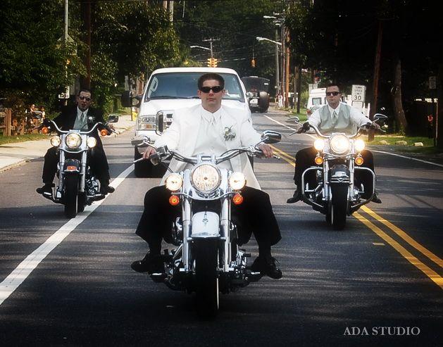 MOTORCYCLE WEDDING -Groom on harley- weddings