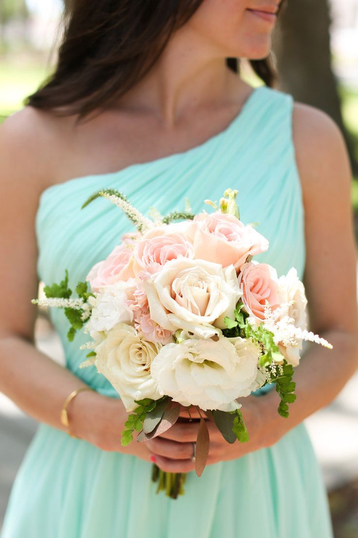 mint bridesmaid dresses with light pink/peach/white flowers  Read More: http://stylemepretty.com/2013/08/09/elegant-st-augustine-wedding-at-the-oc-white-room-from-anna-k-photography/