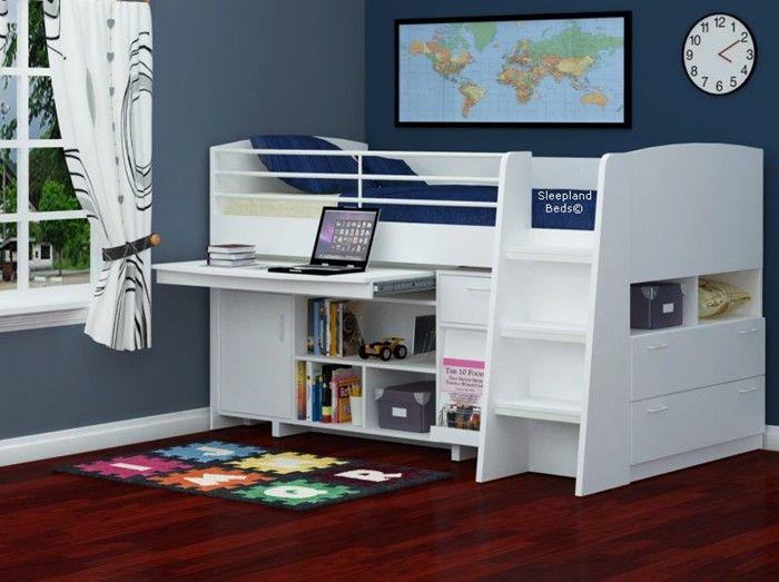 White Tt Midi Sleeper Cabin Beds Midsleeper Bed With Storage