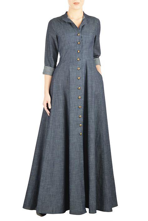 I <3 this Cotton chambray maxi shirtdress from eShakti