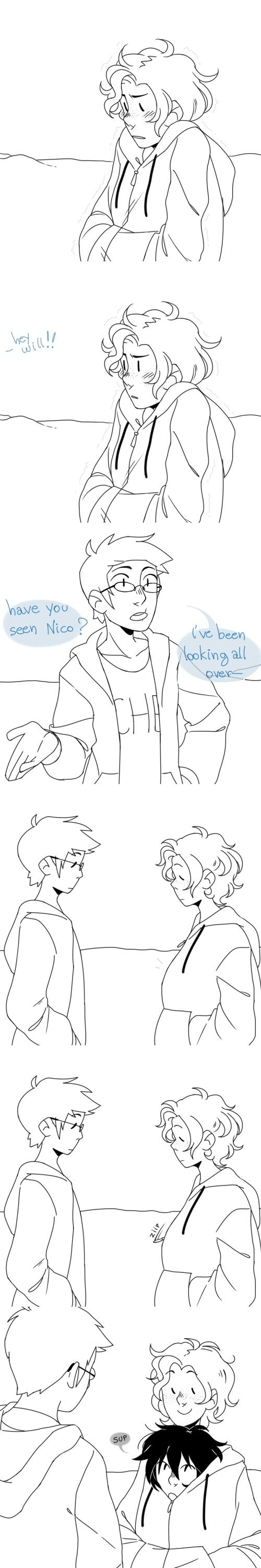 thesquirrelisonfire: It's winter in CHB and Will is wearing a really oversized sweater because Apollo kids are sensitive to lack of sun and then Percy or Jason come around and ask him if he's seen Nico and suddenly his sweater starts wiggling and Nico's head pops from the collar and he's like sup